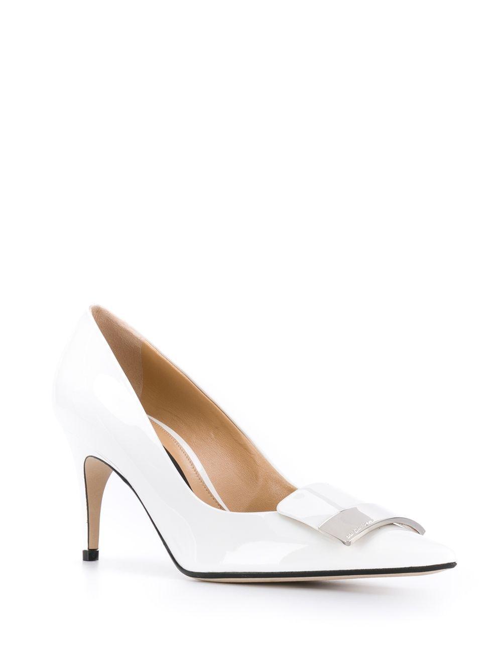 Zapatos de tacón con detalle de placa Sergio Rossi de Cuero de color Blanco