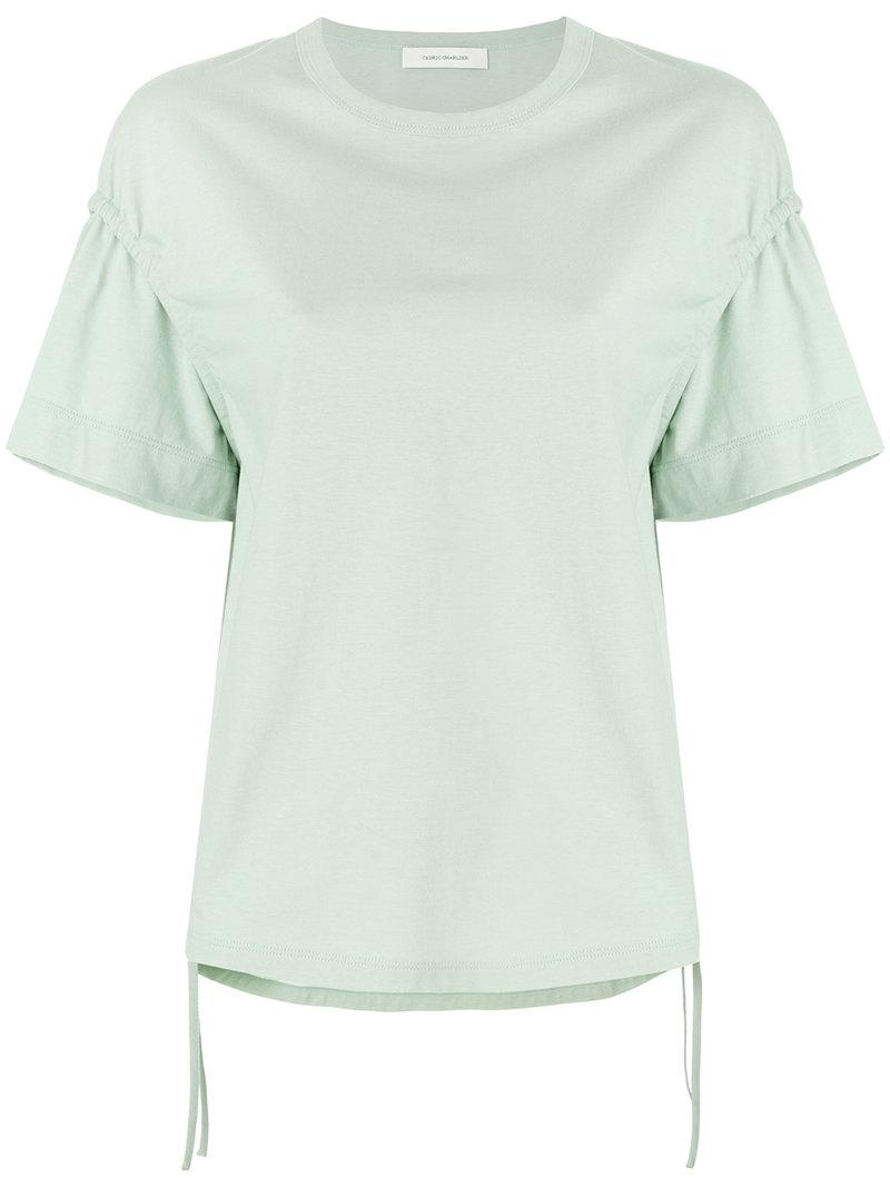 Lyst cedric charlier ruffle sleeve t shirt in green for Frill sleeve t shirt