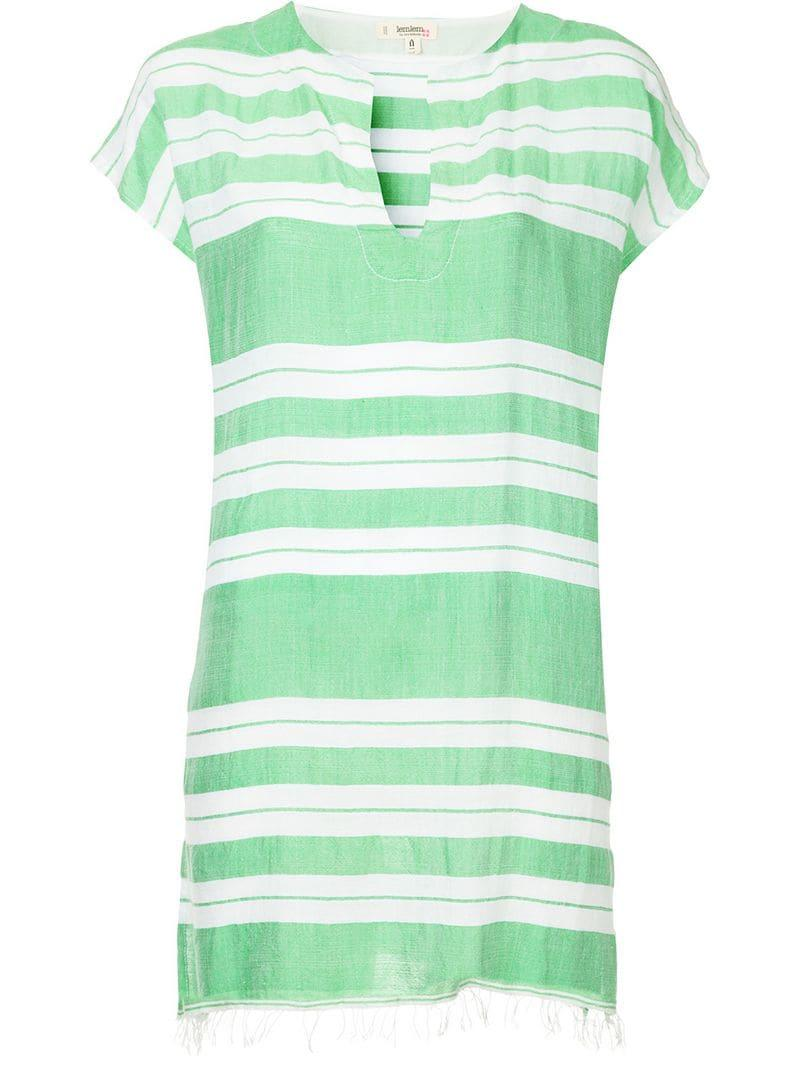 Lyst Dress In Lemlem Horizontal Striped Tunic Green CxBodeWr