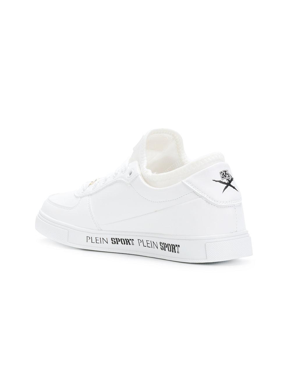 Philipp Plein Leather Low Top Sneakers in White