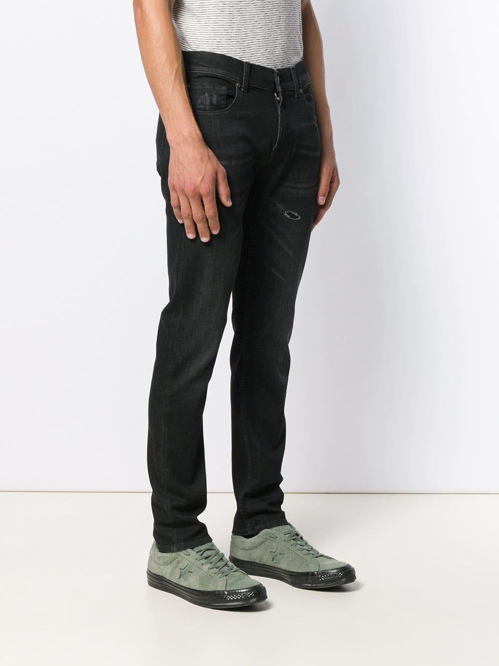 7 For All Mankind Denim Jeans Met Toelopende Pijpen in het Zwart voor heren