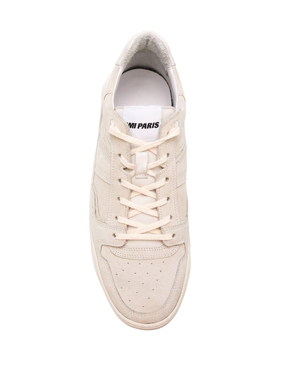 AMI Leer Low-top Vetersneakers in het Wit voor heren