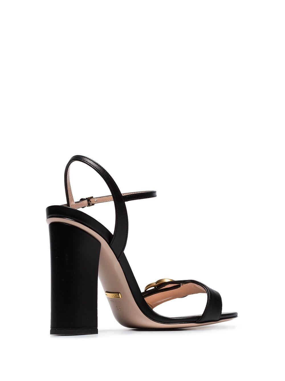 e57cb2931f4 Gucci - Black Marmont 110 Chunky Heel Leather Sandals - Lyst. View  fullscreen