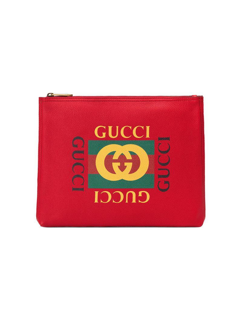 Gucci - Red Portfolio moyen format en cuir imprimé for Men - Lyst. Afficher  en plein écran 3d851b4c996