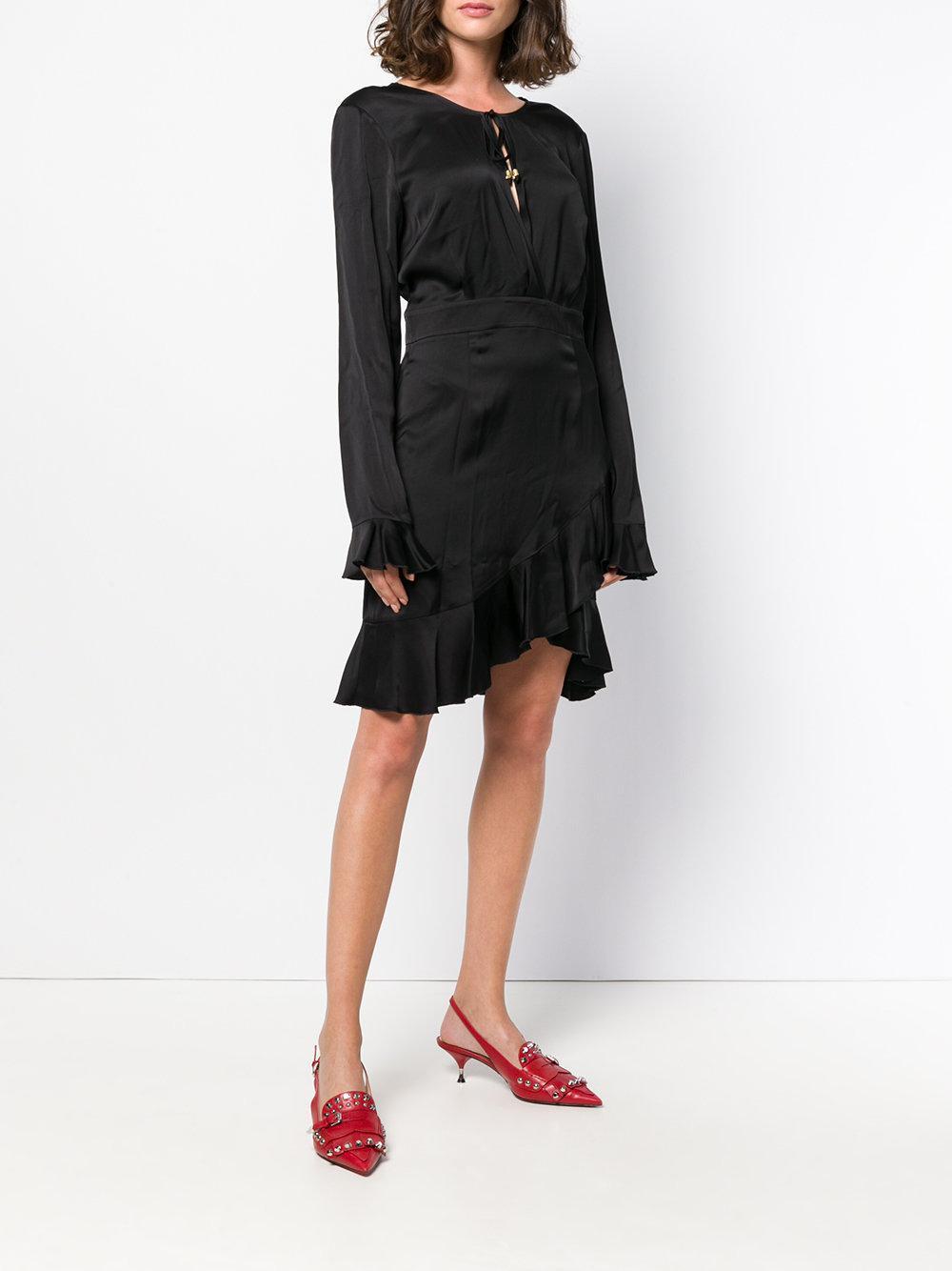 wrap around frill dress - Black Just Cavalli FwPjH3z