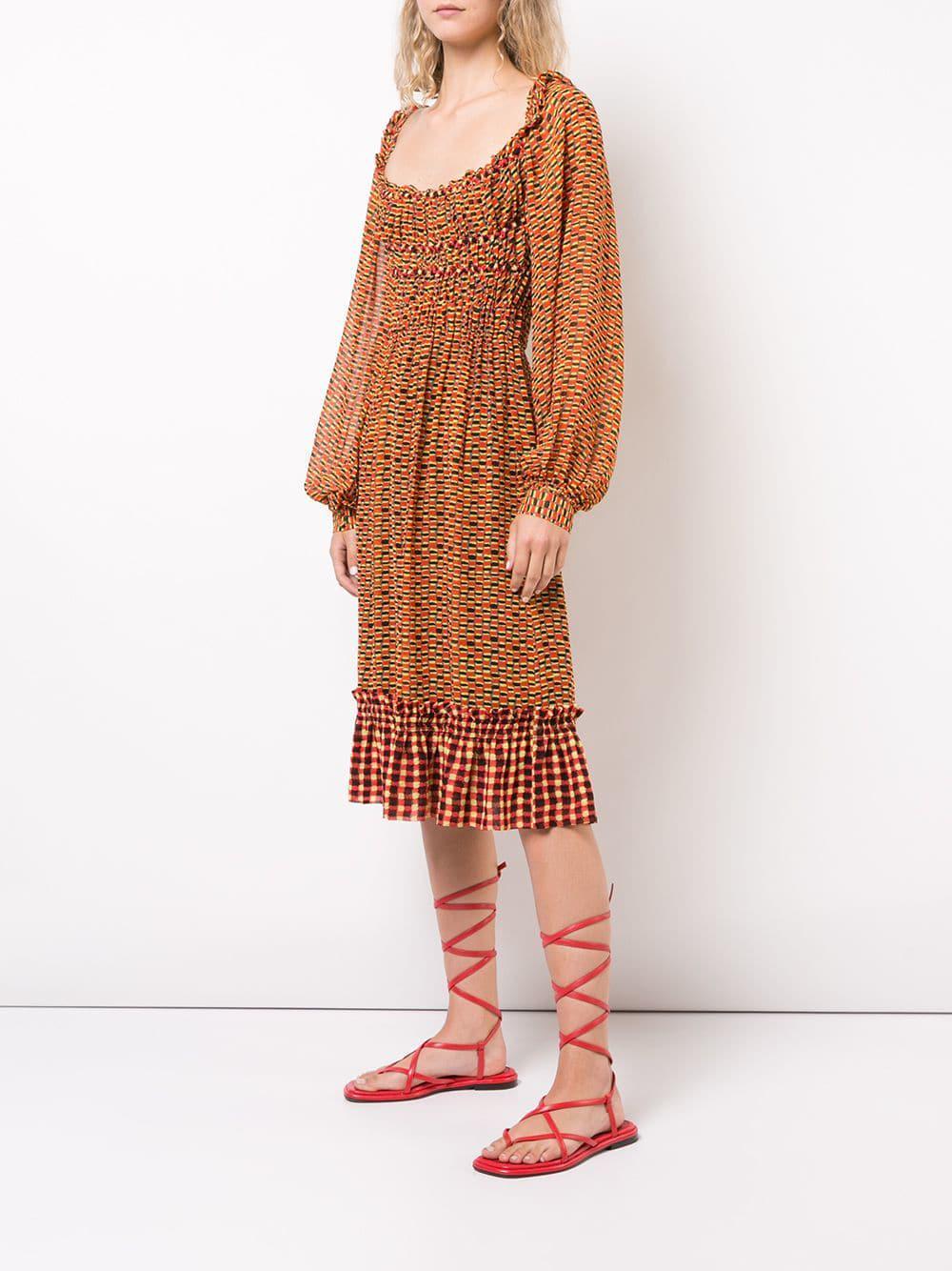 a17c0f50d7540 Proenza Schouler - Yellow Crepe Chiffon Square Neck Dress - Lyst. View  fullscreen