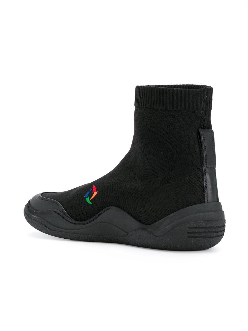 Lanvin Leer Sok Sneakers in het Zwart voor heren