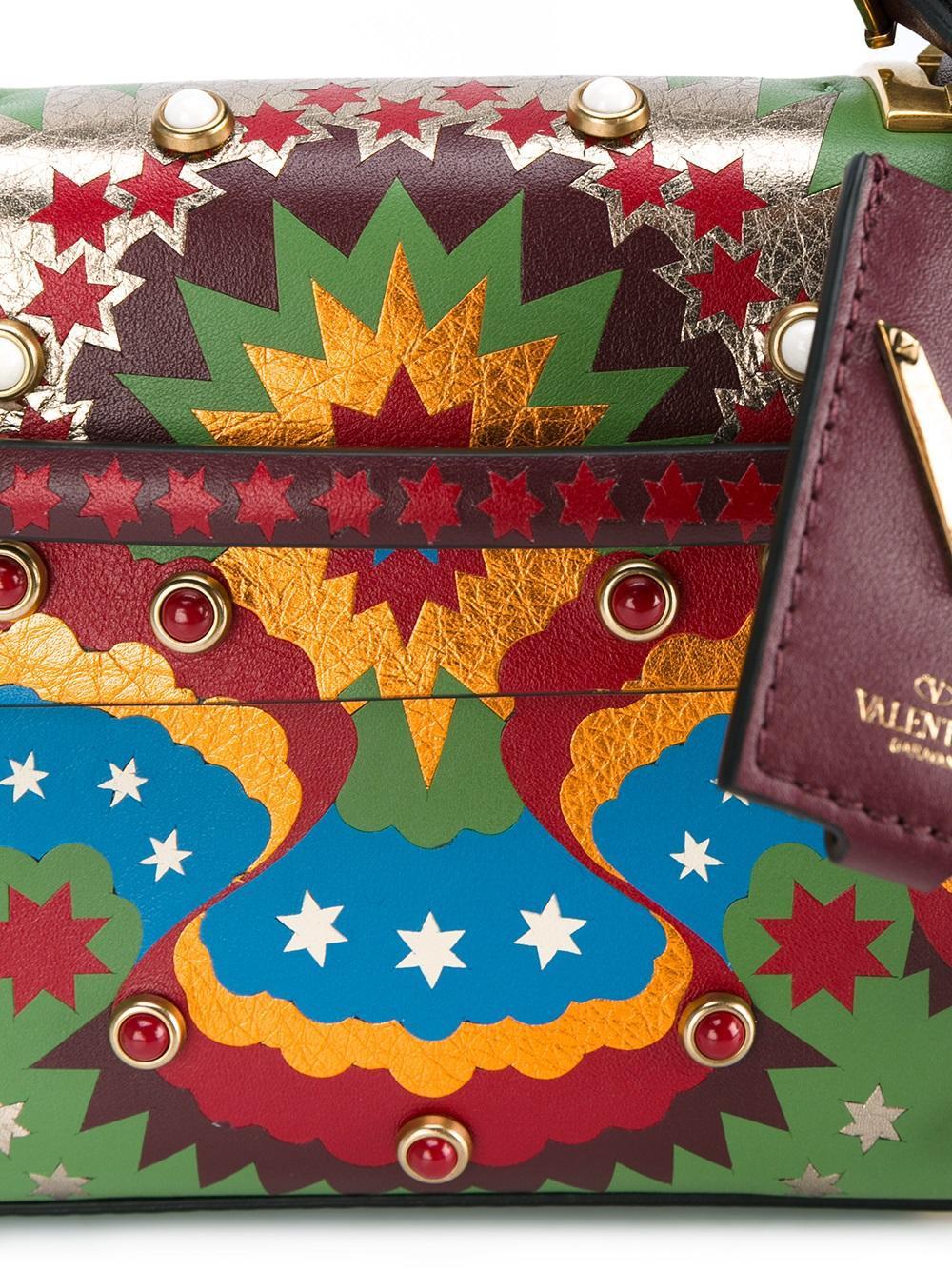0b9b5ae83242a Valentino Garavani Micro My Rockstud Star Stripes Tote - Lyst