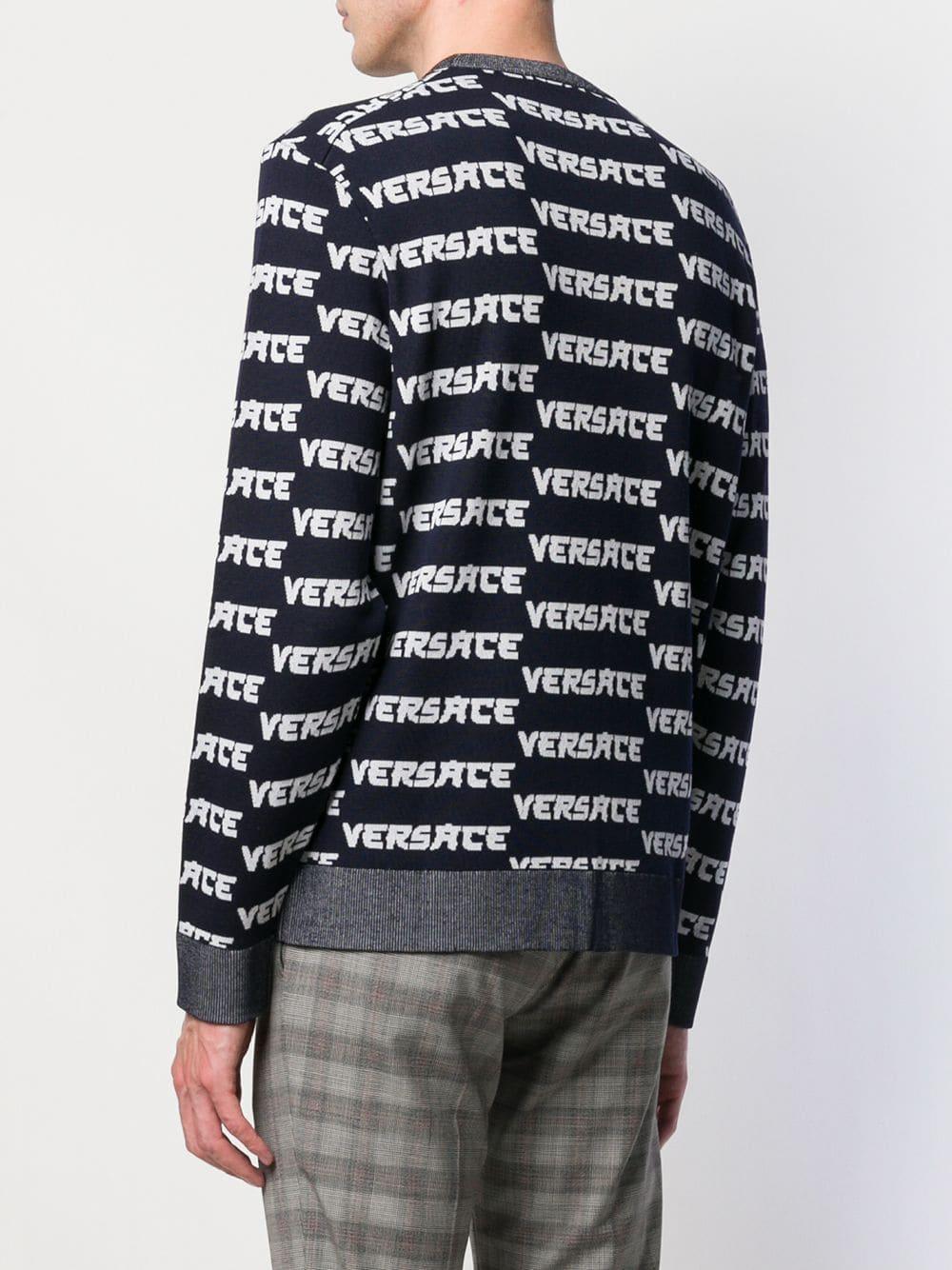 Versace Wol Gebreide Trui Met Logo in het Blauw voor heren