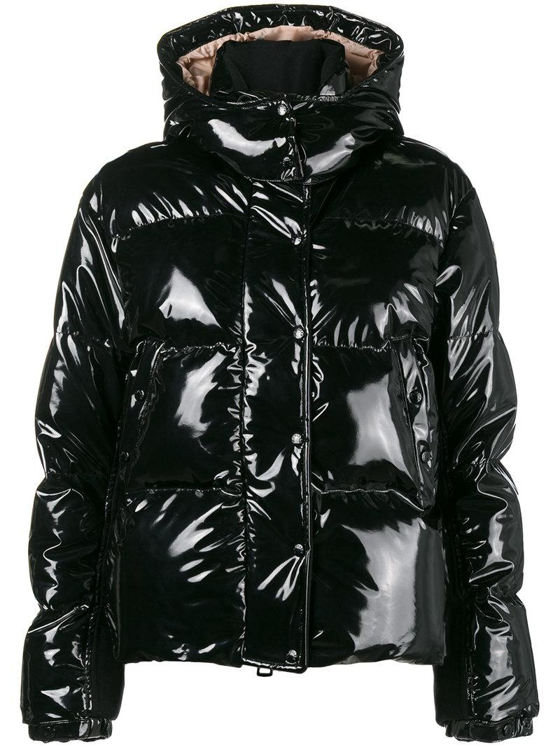 Moncler Synthetic Feather Down Shiny Puffer Jacket In