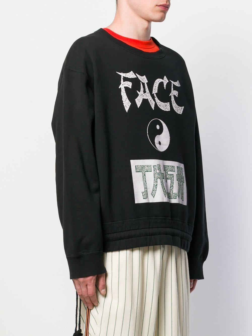 Facetasm Fleece Sweater Met Print in het Zwart voor heren