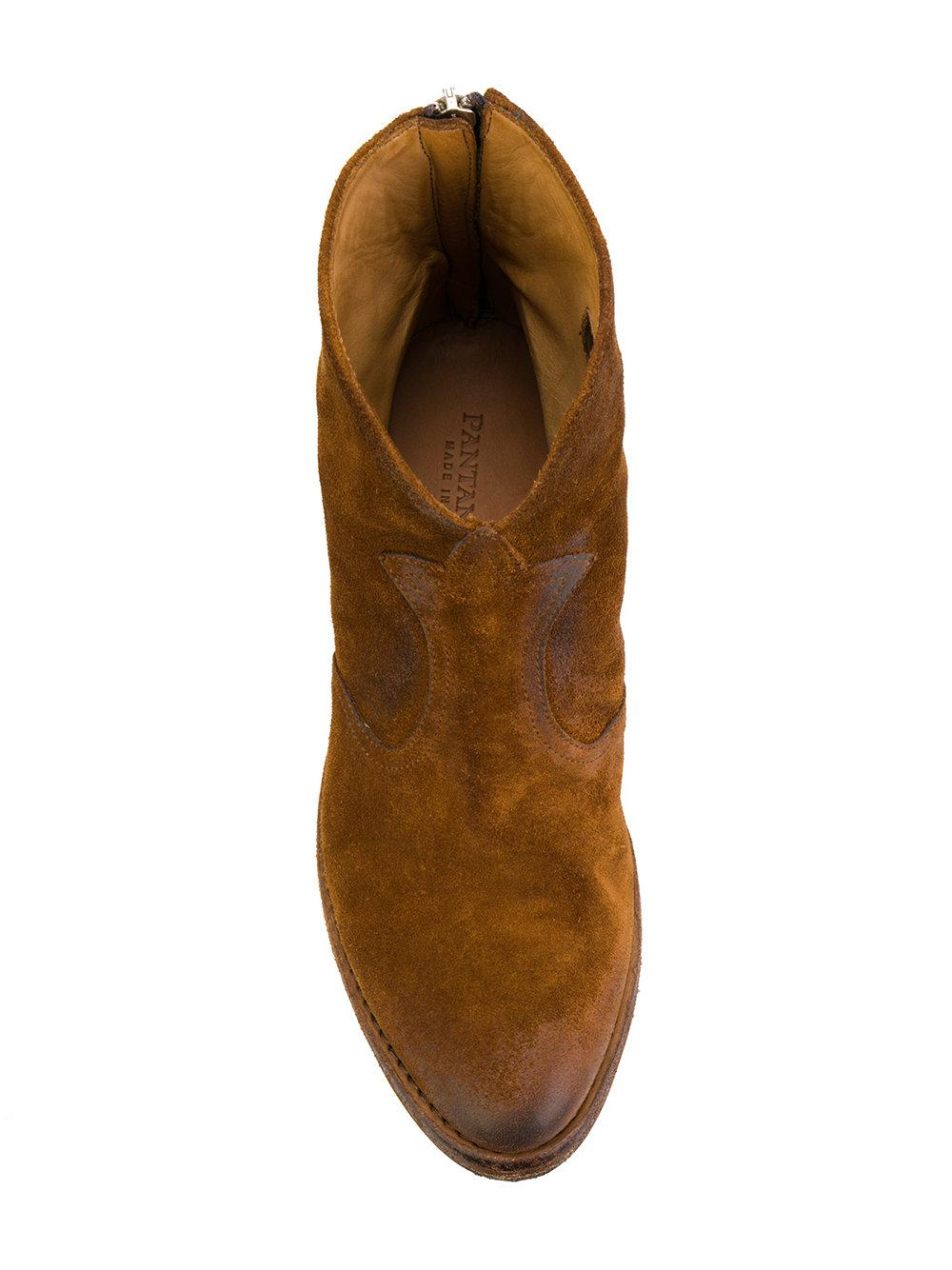 54bcaf31339dc Lyst - Pantanetti Low Heel Cowboy Boots in Brown