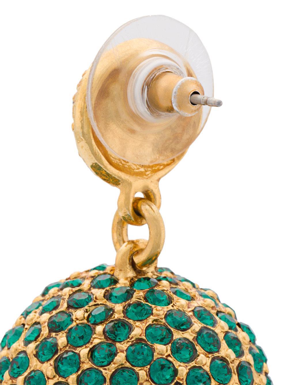 oscar de la renta pav dome earrings in green lyst. Black Bedroom Furniture Sets. Home Design Ideas