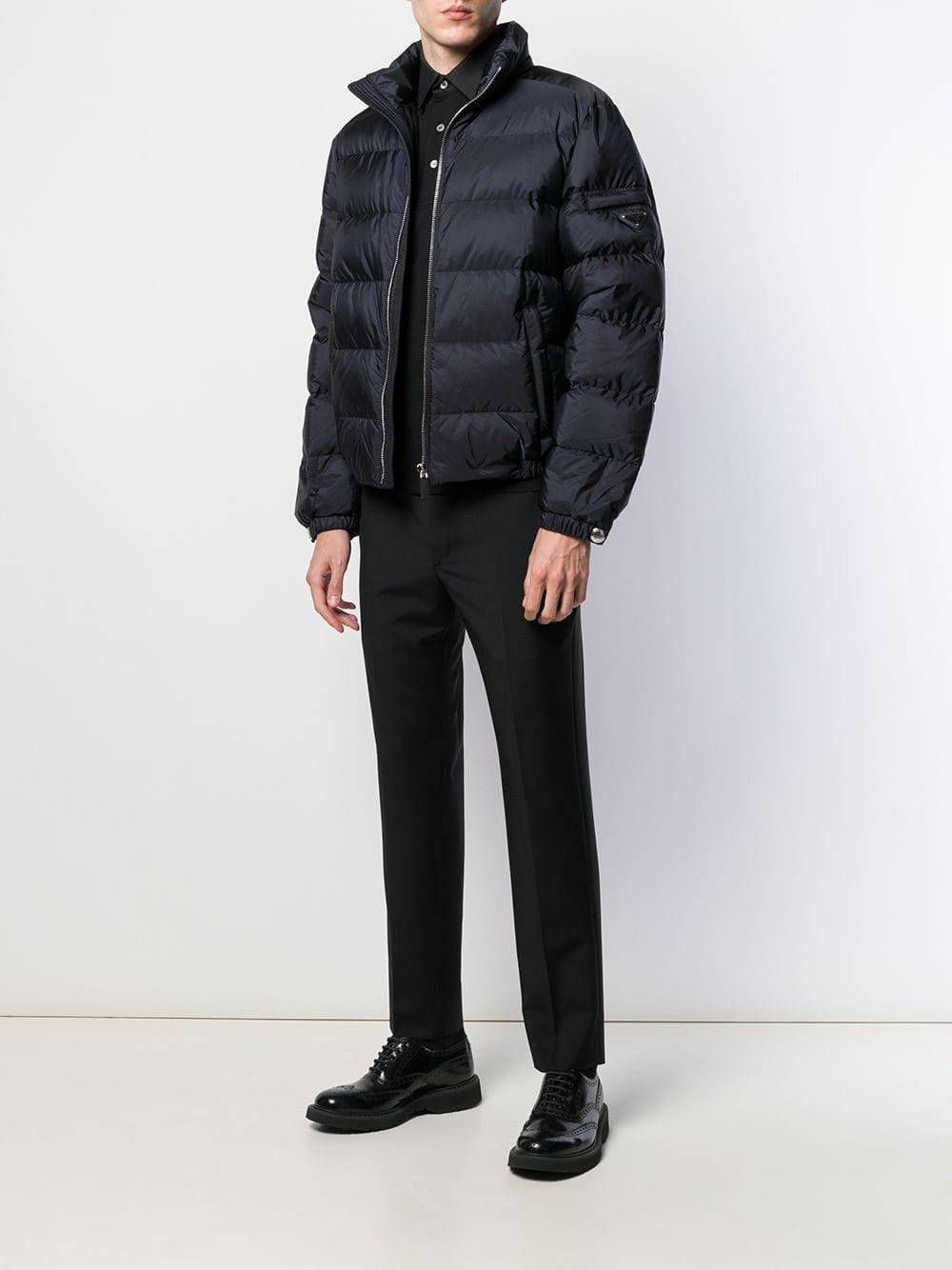 7dd0675d1 Prada Zipper Feather Down Puffer Jacket in Blue for Men - Lyst