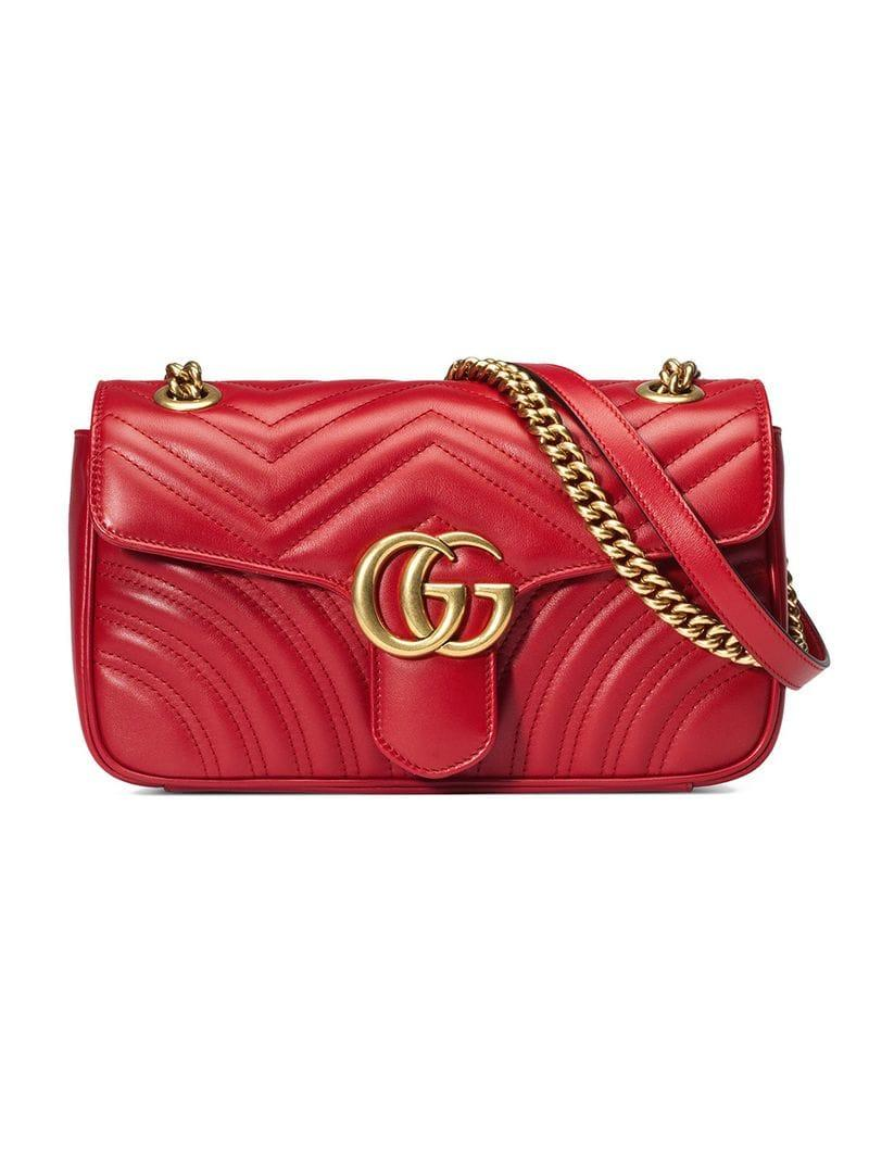 c4870fa83d1 Lyst - Gucci Gg Marmont Small Quilted Leather Shoulder Bag in Red ...