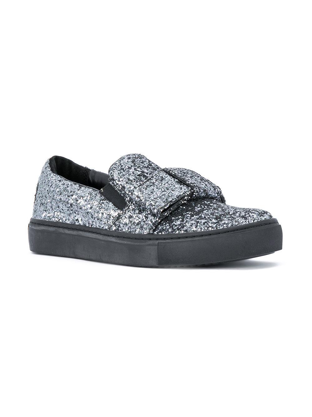Karl Lagerfeld Leather Glitter Slip-on Sneakers in Metallic