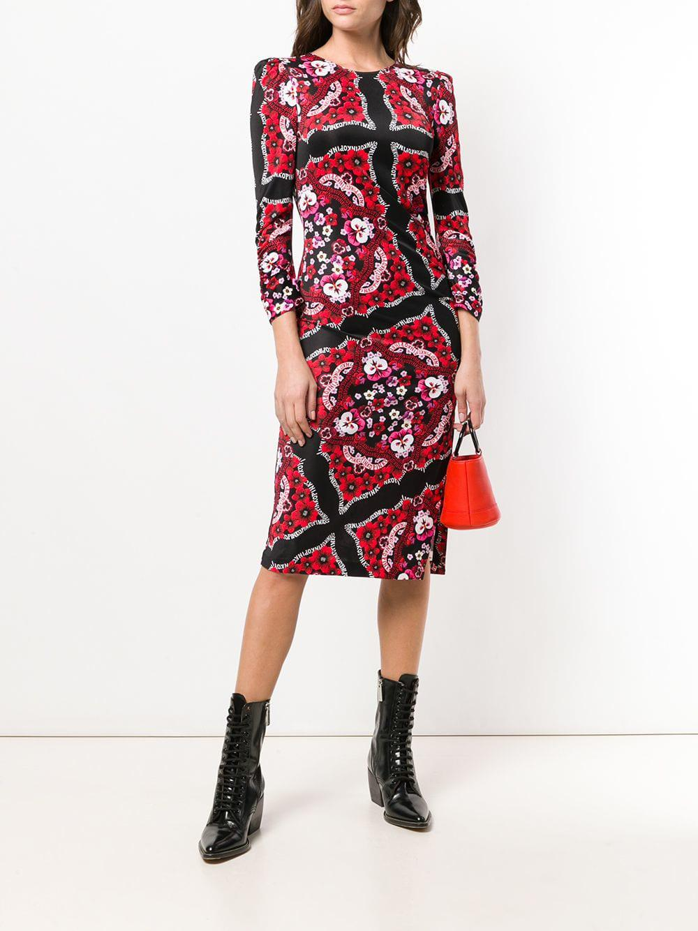 8495c599b3e Lyst - Pinko Printed Midi Dress in Black