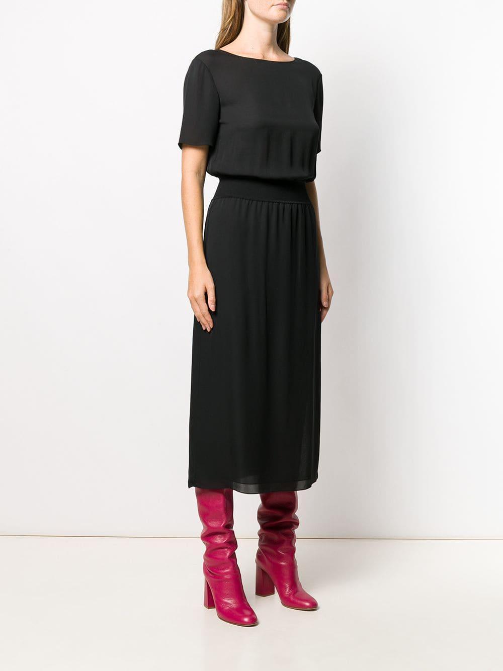 Vestido midi ajustado Theory de Seda de color Negro