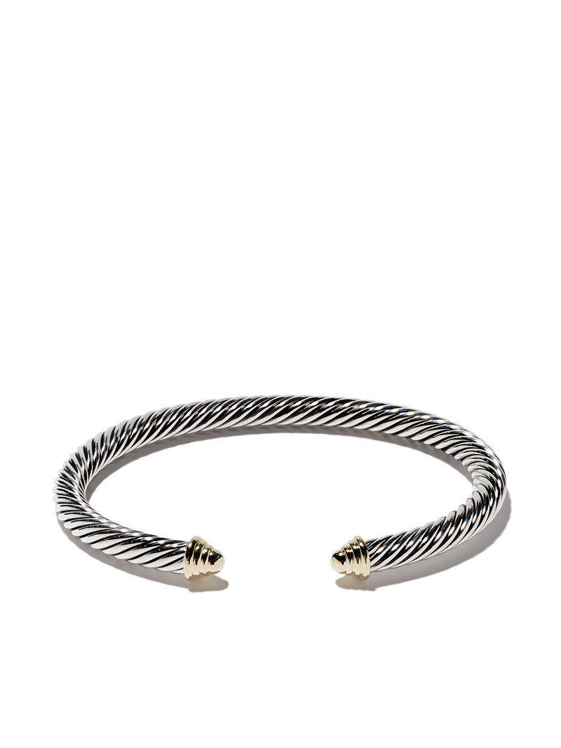 David Yurman Cable Classics sterling silver amethyst & 14kt yellow gold accented cuff bracelet - Metallic 7at7cj3o0x