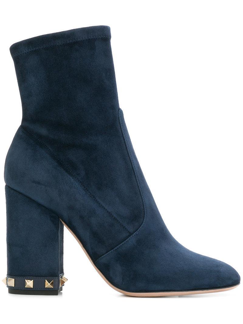 6849629e882 Valentino Garavani Rockstud Ankle Boots in Blue - Lyst