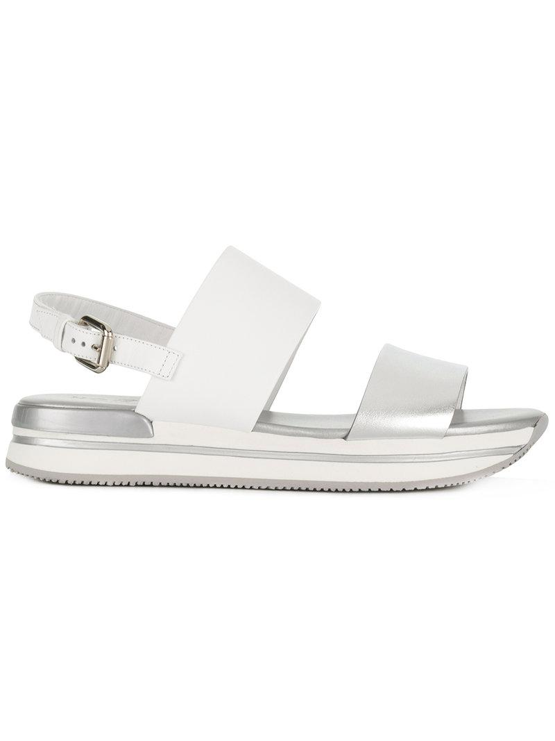 8aa58b7d413 Hogan Metallic Strap Sandal in White - Lyst