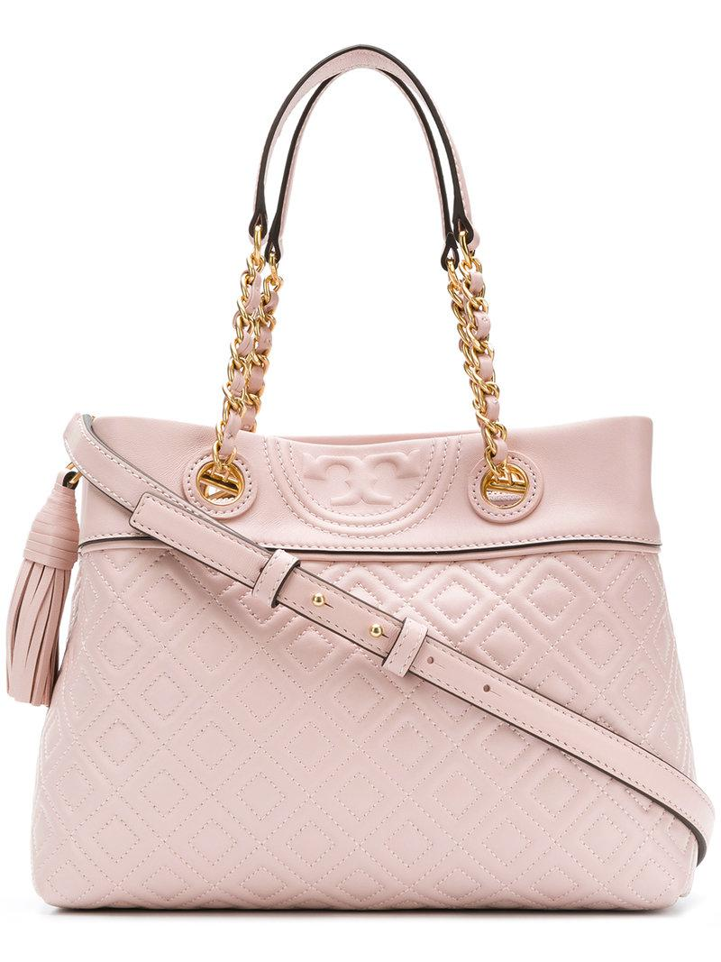 8672b5a50891 Lyst - Tory Burch Fleming Small Tote Bag in Pink