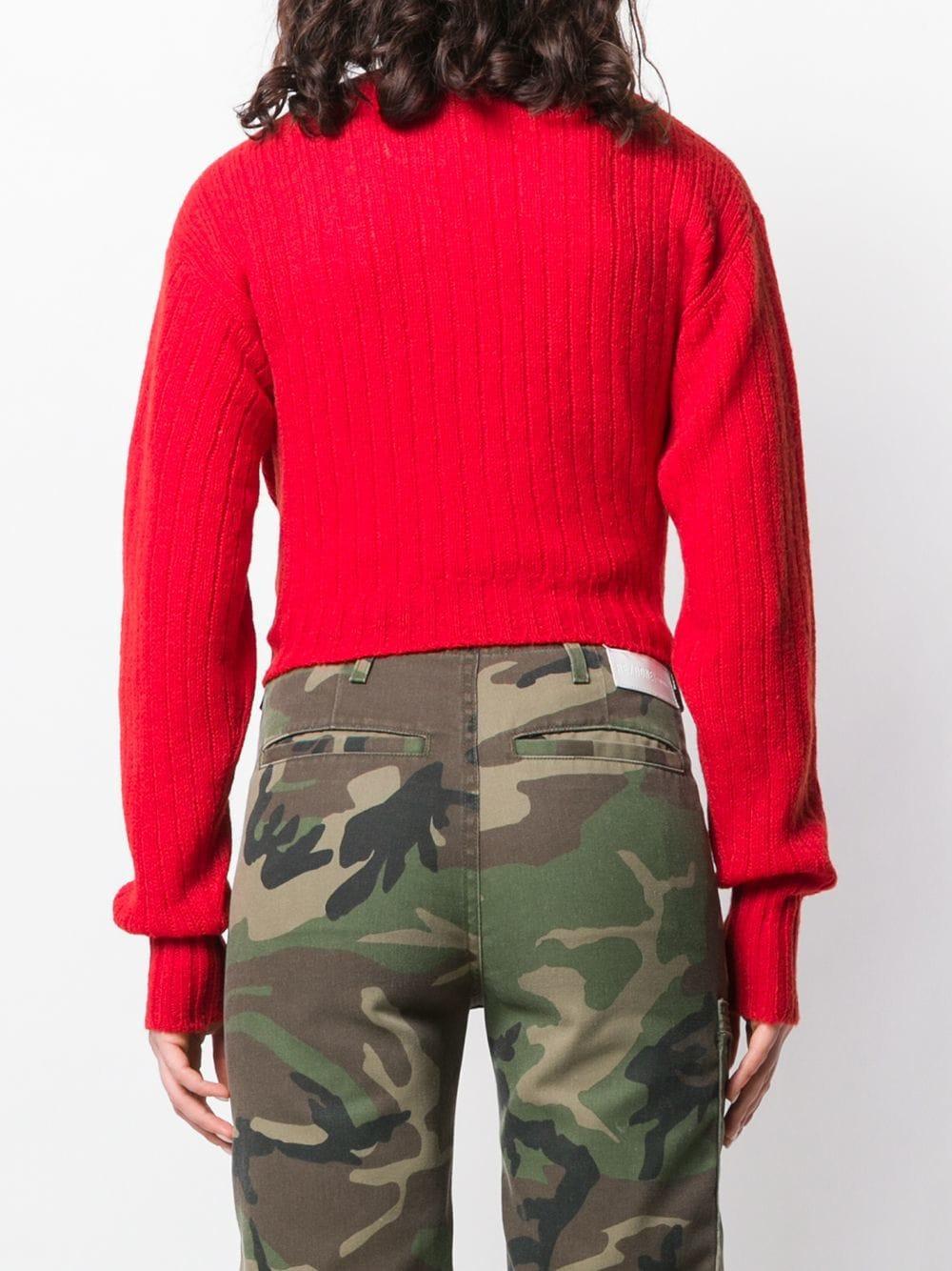 Cardigan à design nervuré Laines Miu Miu en coloris Rouge