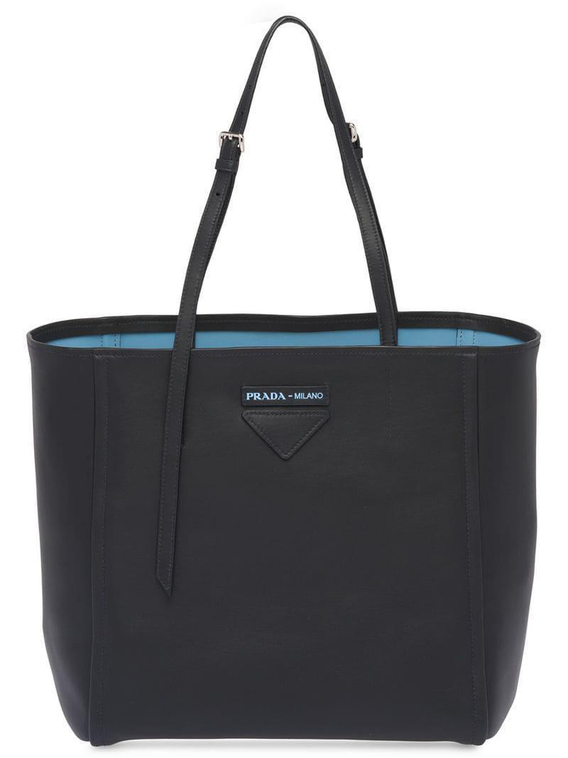 7d799e610c22 Prada Small Concept Leather Tote in Black - Lyst