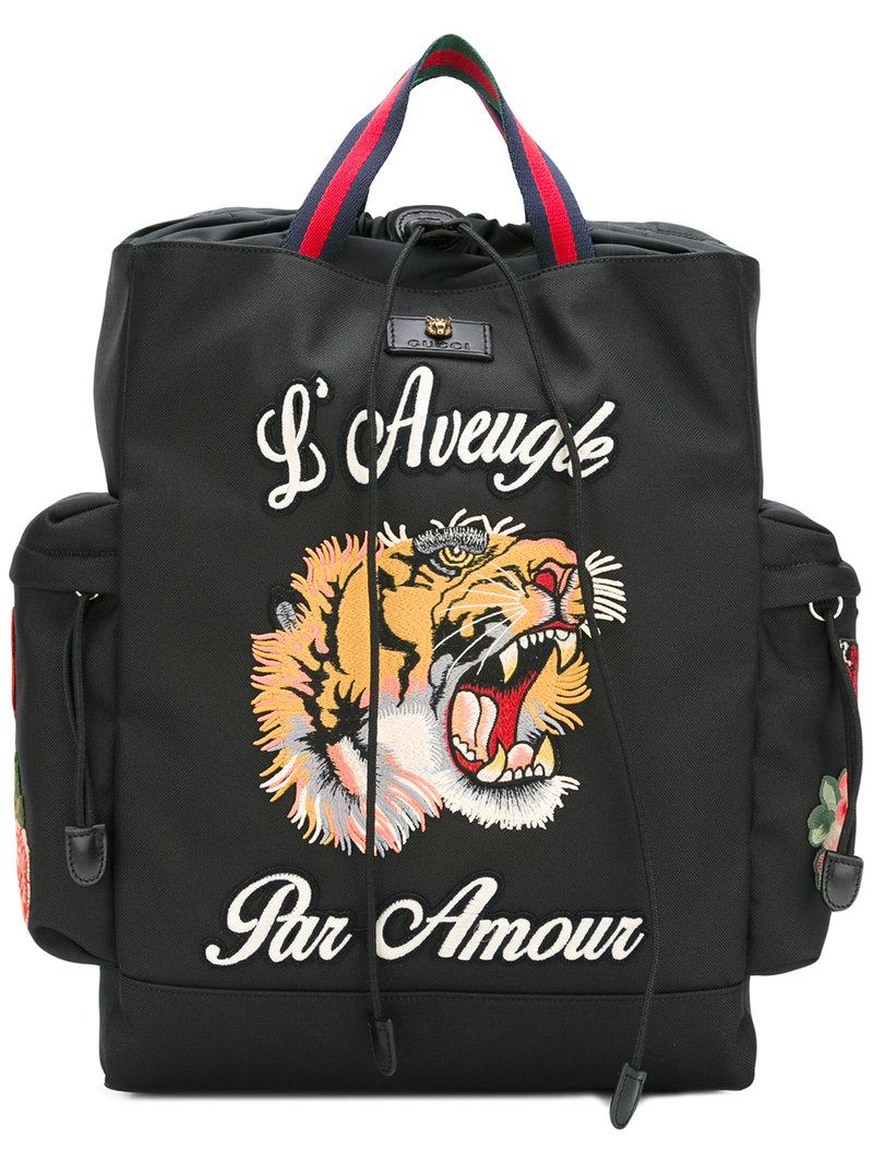 Gucci L aveugle Par Amour Backpack in Black for Men - Lyst c6ab969567cec