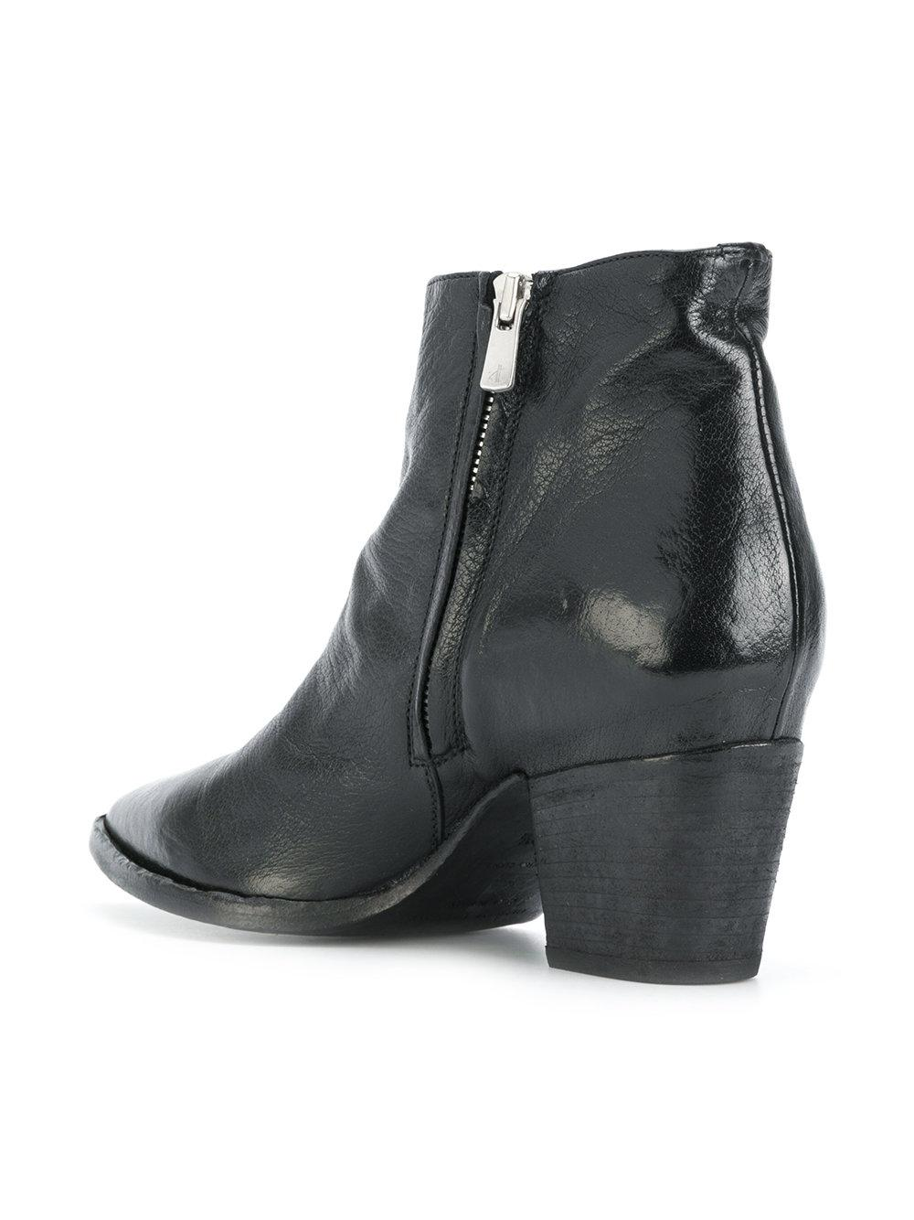 Officine Creative Leather Side-zip Ankle Boots in Black