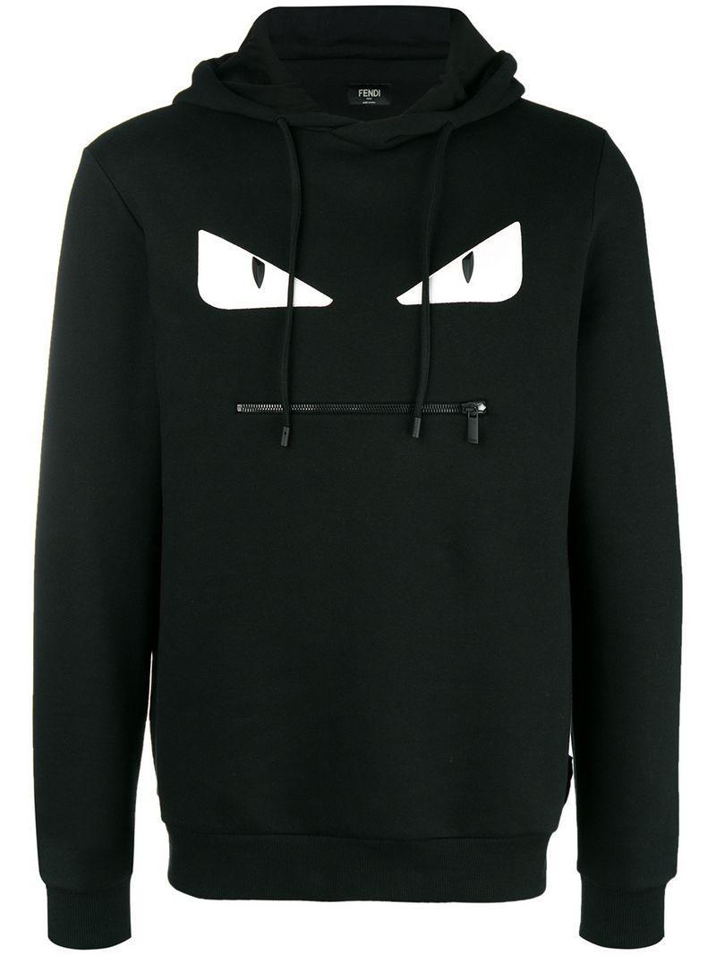 628f6bf2117f Fendi - Black Embellished Bag Bugs Hoodie for Men - Lyst. View fullscreen