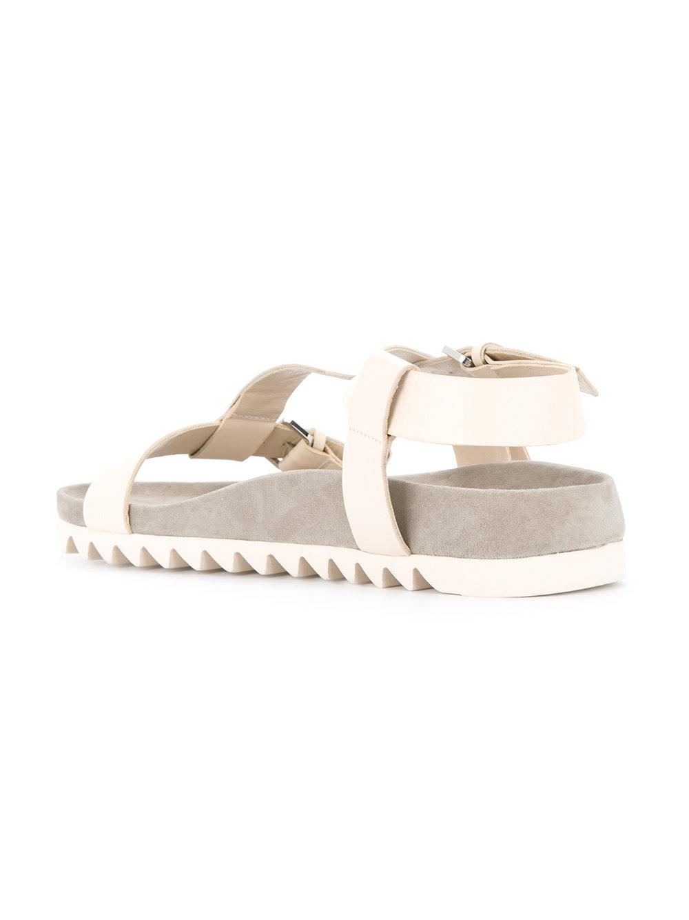 3ea67437ac342 Dion Lee Buckle Flat Sandals in Gray - Lyst