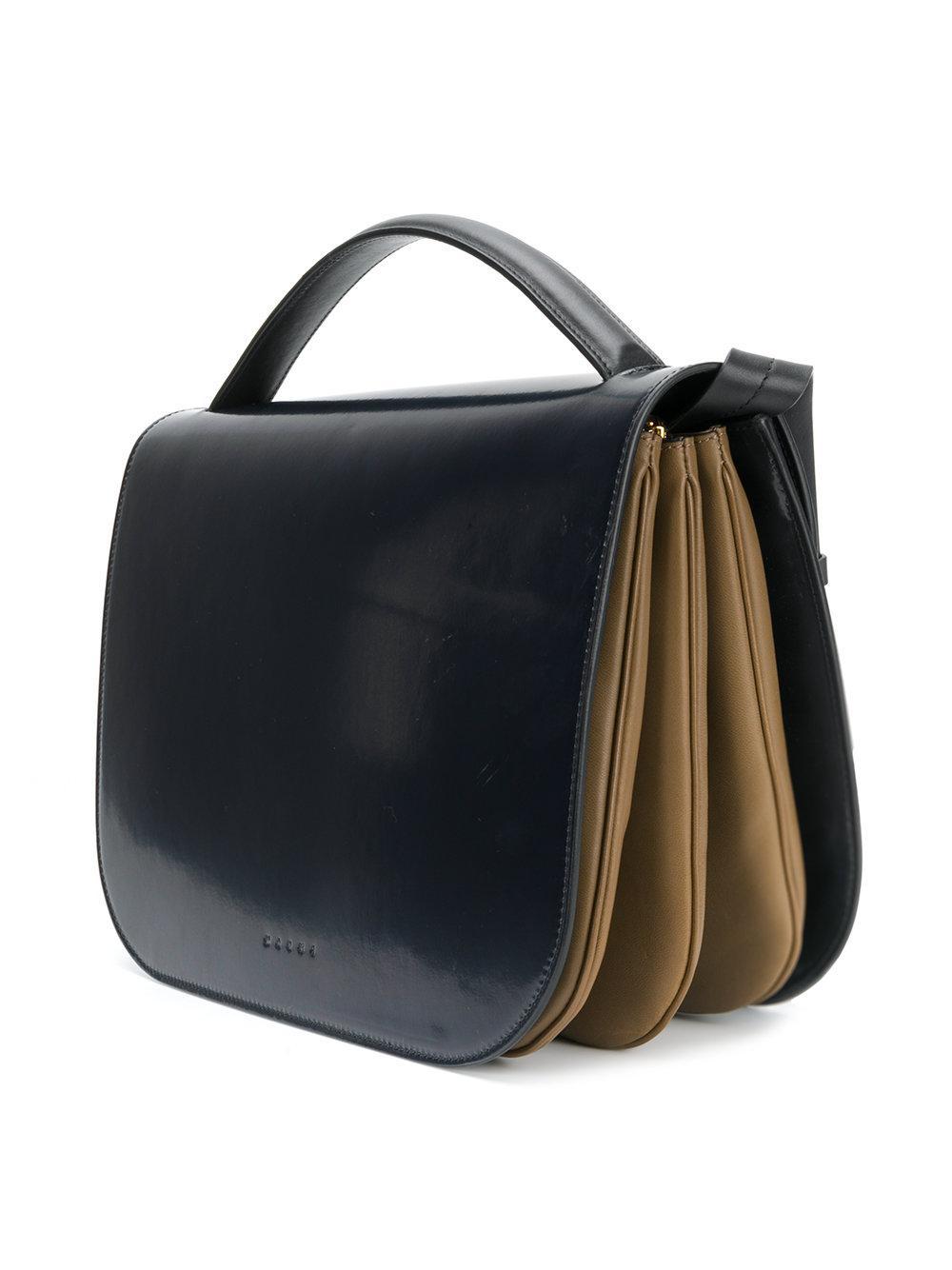 Marni Leather Tuk Large Tote Bag in Blue