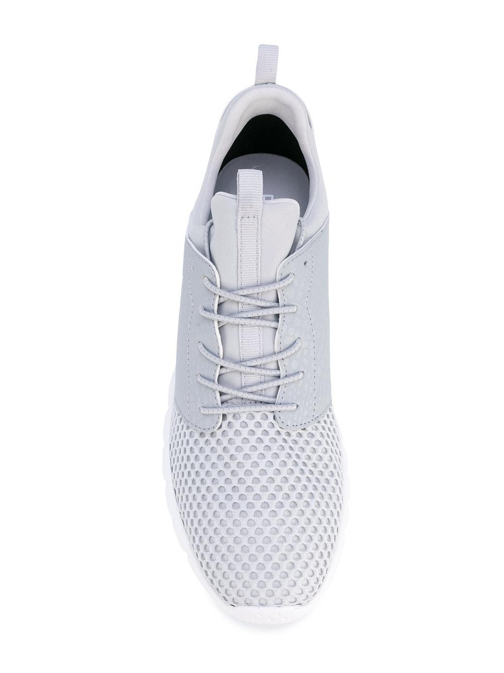 EA7 Leather Lace Up Trainers in Grey (Grey) for Men