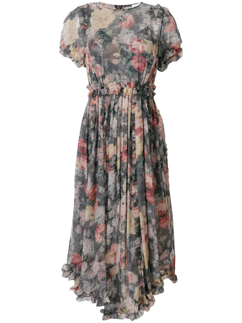 Zimmermann washed floral print asymmetric hem dress Fashion Style Discount Perfect Cheap 2018 New y7RdMWJHR