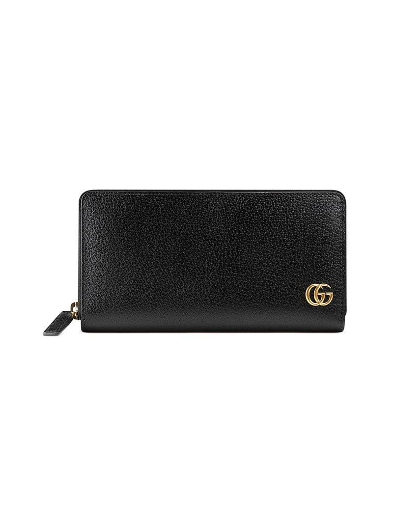c48791bec53fc5 Gucci GG Marmont Leather Zip Around Wallet in Black for Men - Lyst