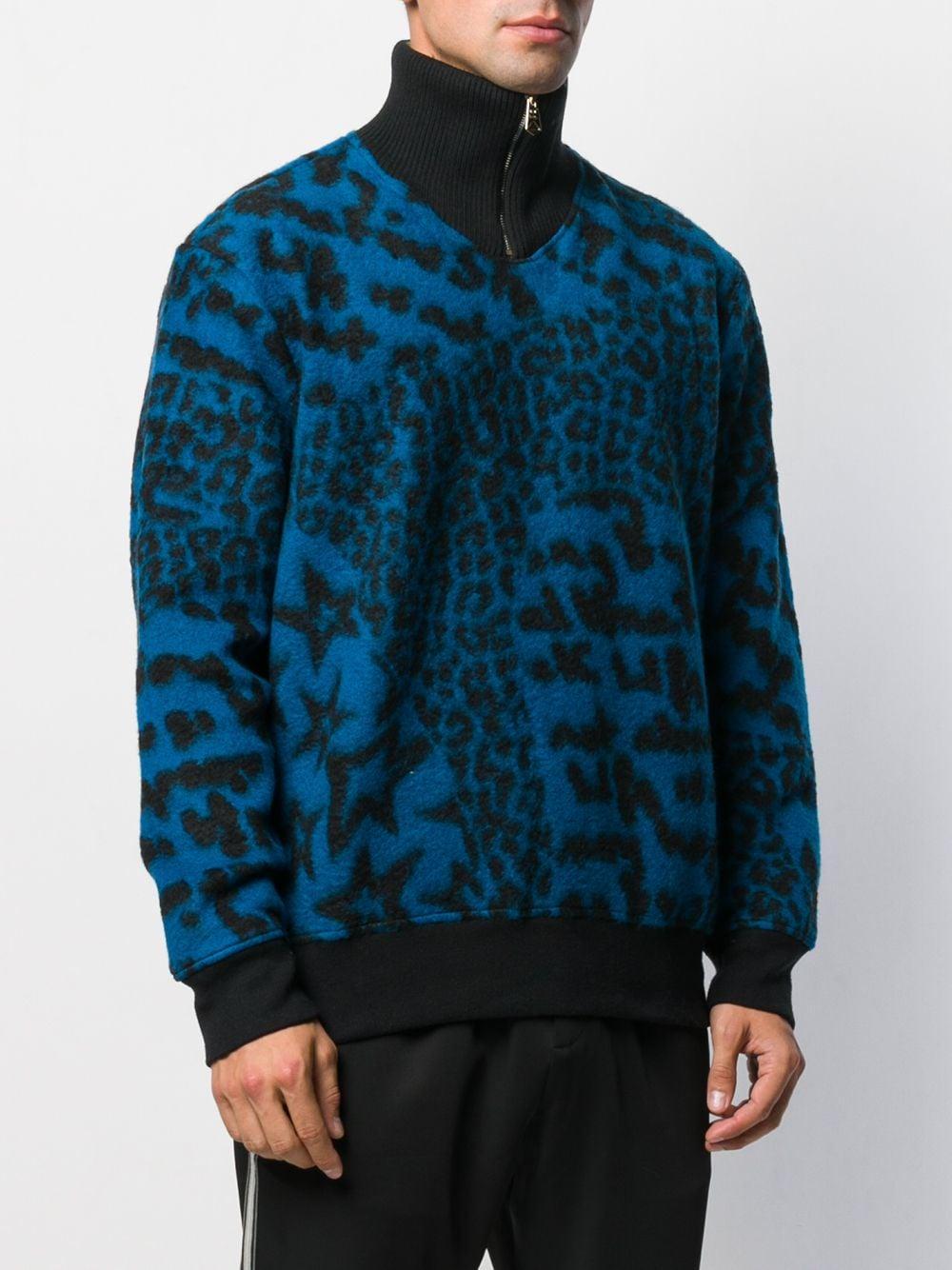 Paul Smith Wol Trui Met Luipaardprint in het Blauw voor heren