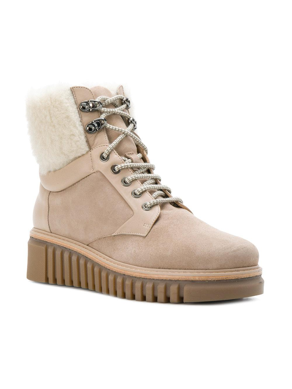 Loriblu Leather And Fur Trim Ankle Boots in Natural