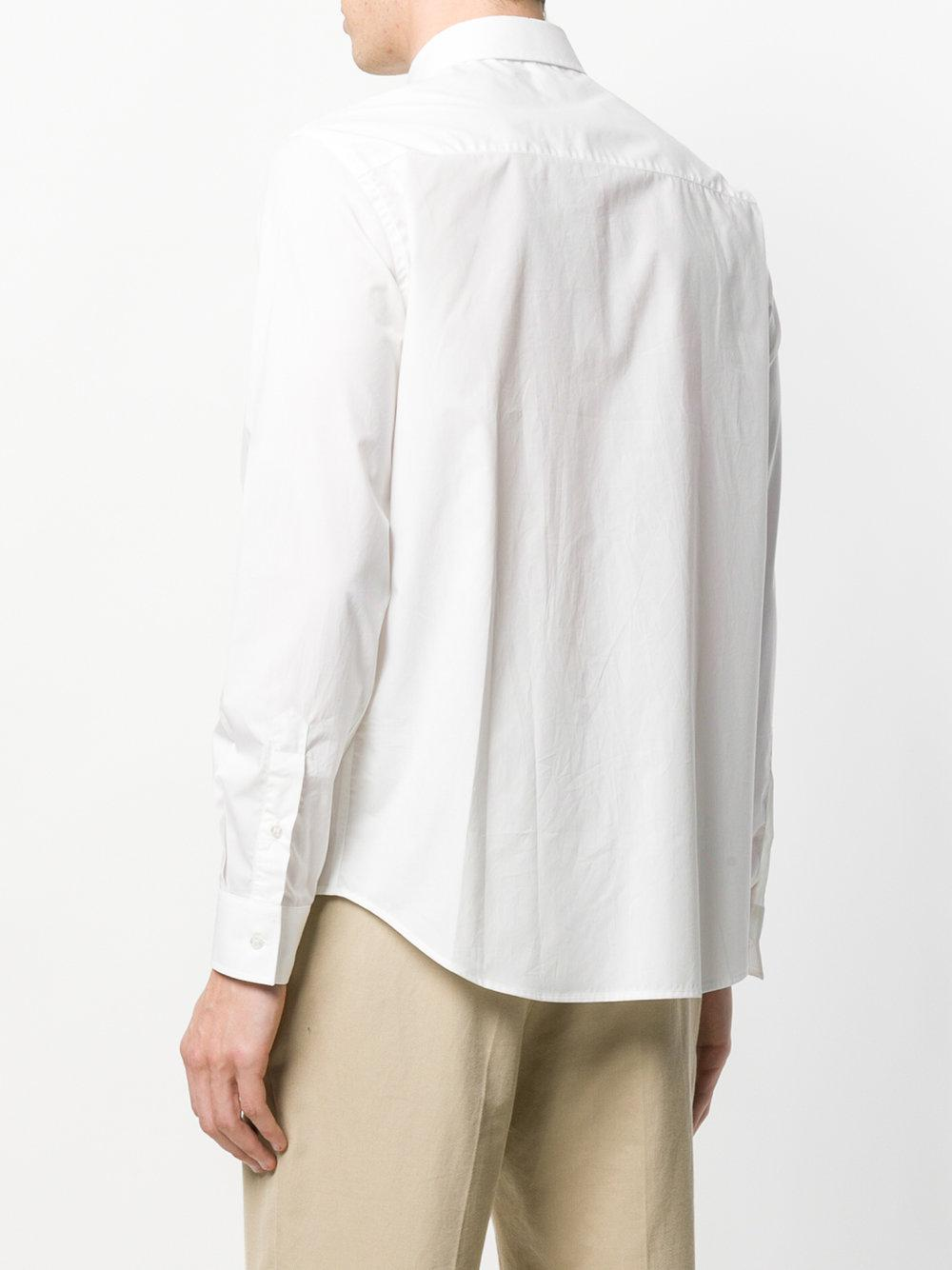 MSGM Cotton Long Sleeve Shirt in White for Men