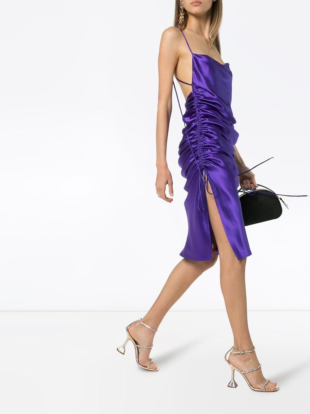 Vestido midi Yasmin Galvan London de Tejido sintético de color Morado