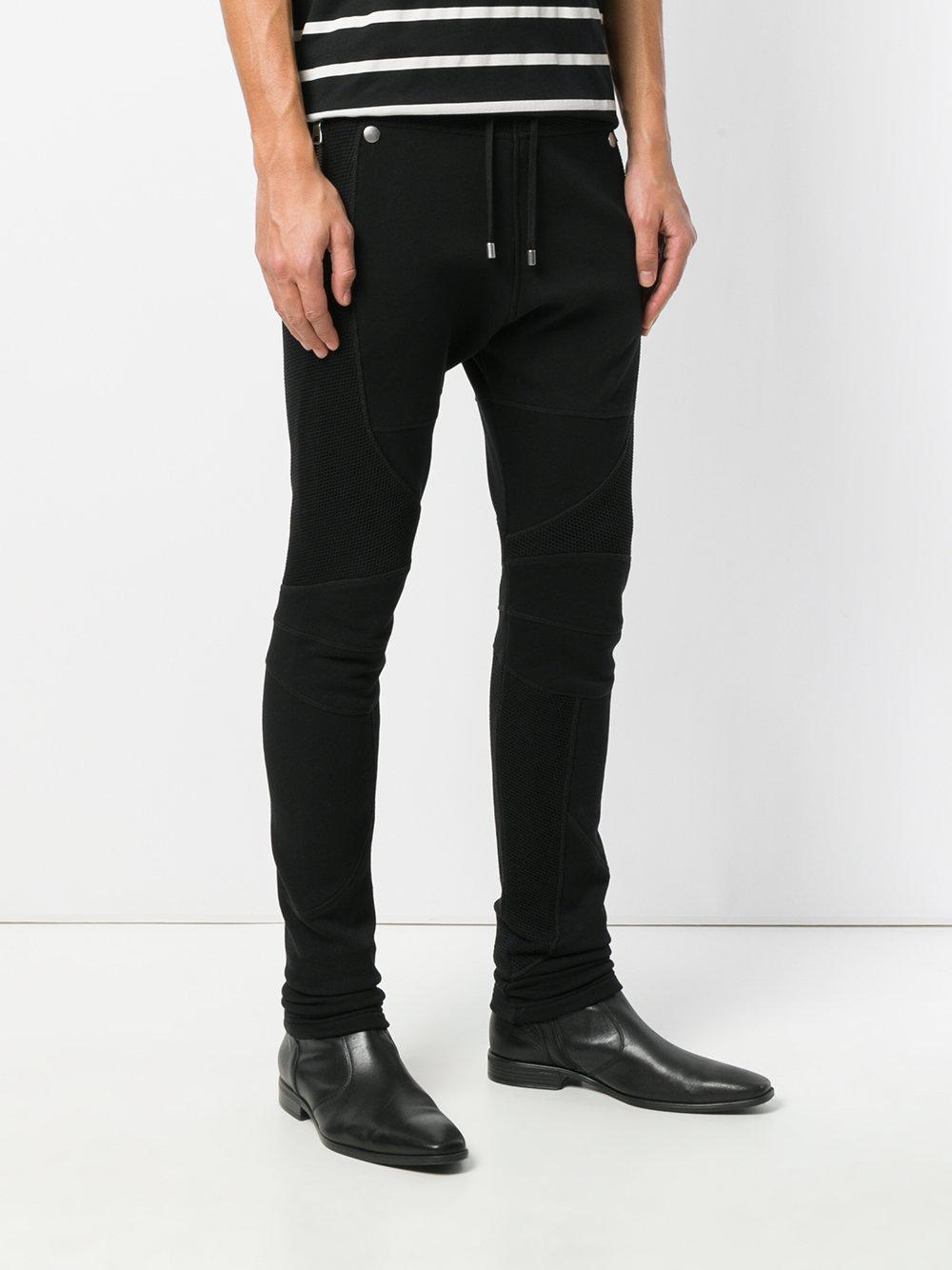 Balmain Cotton Mesh-panelled Sweatpants in Black for Men