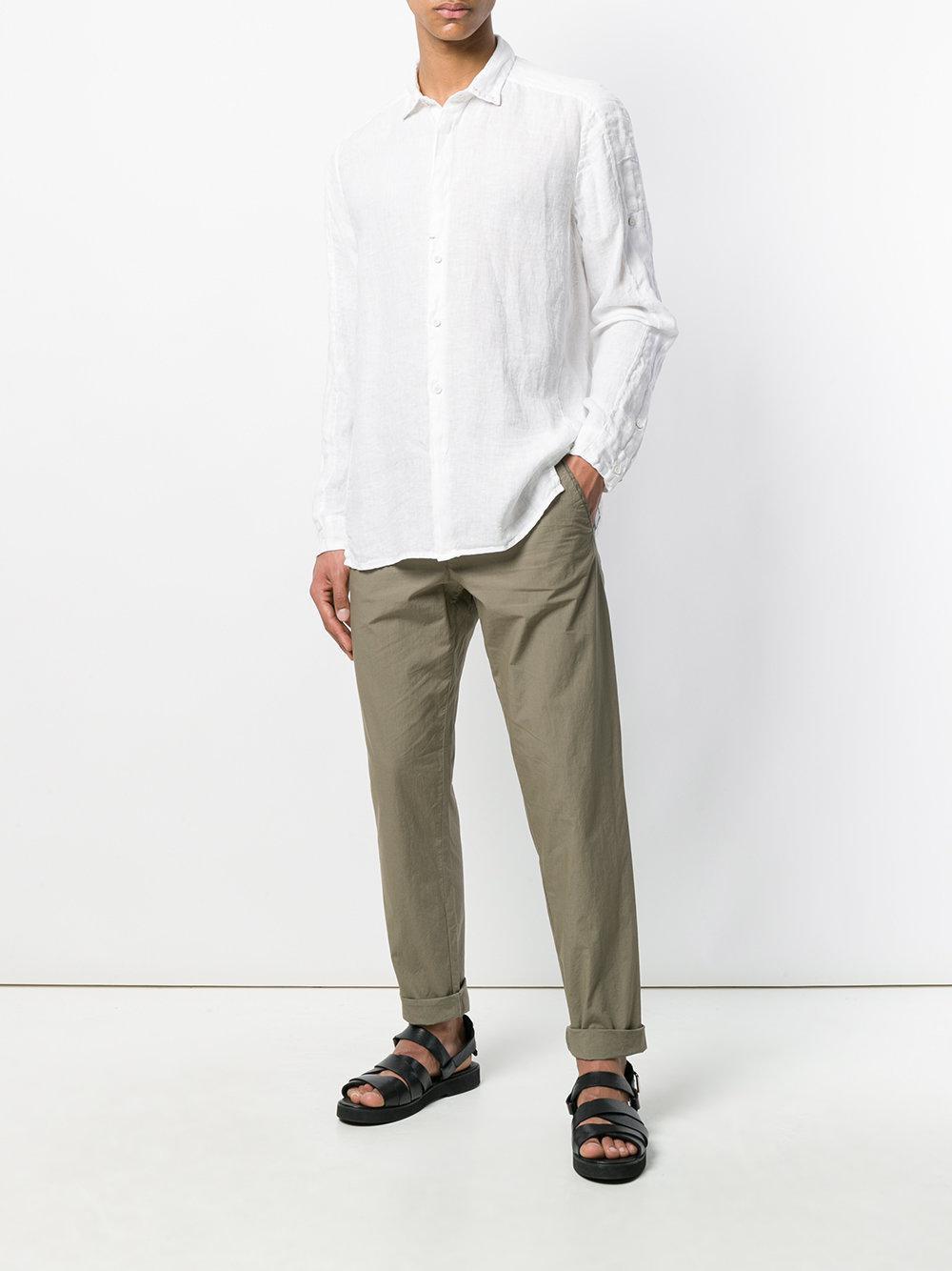 Transit Linen Stitch Collar Detail Shirt in White for Men