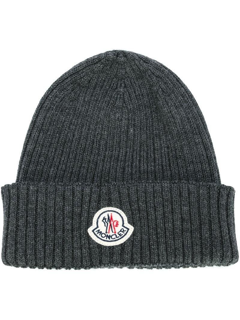 f0384d25706e7 Moncler Ribbed Beanie Hat in Grey for Men - Save 2%