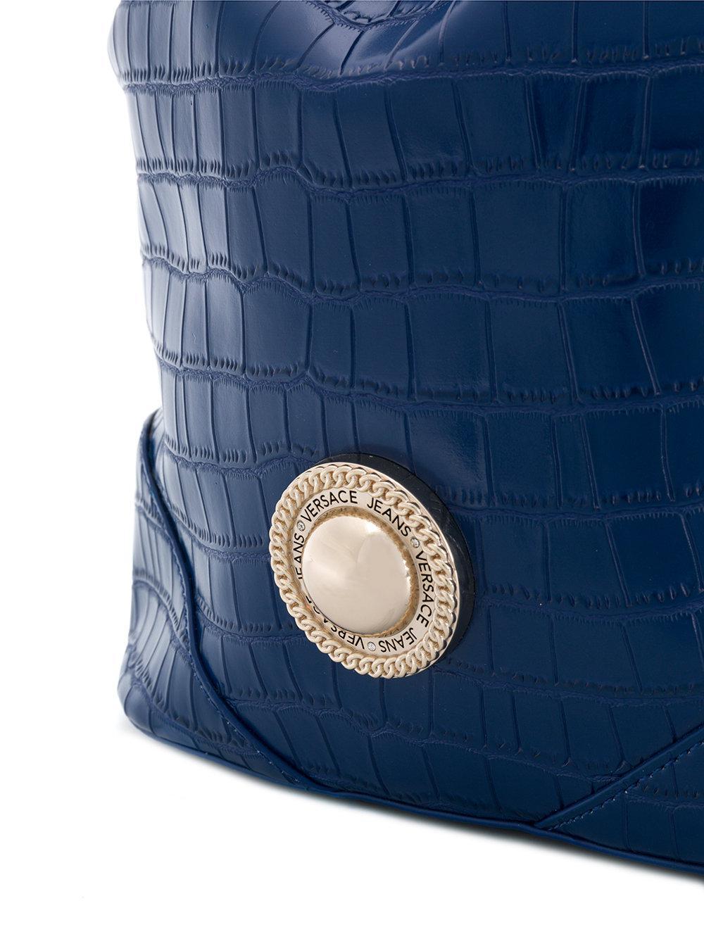 Versace Jeans Croco Embossed Bucket Bag in Blue - Lyst e9a4dd3469