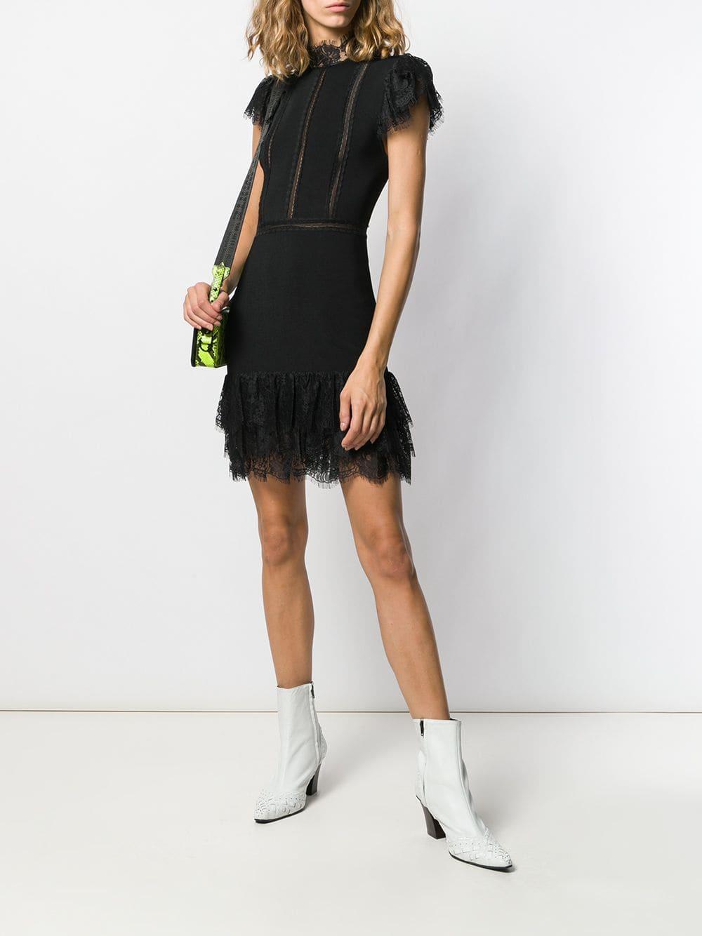 Vestido corto con ribete de encaje Alice + Olivia de Tejido sintético de color Negro