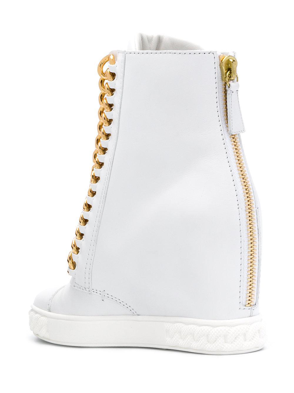 In White Chain Hi Top Sneakers Lyst Trim Casadei Yq1500