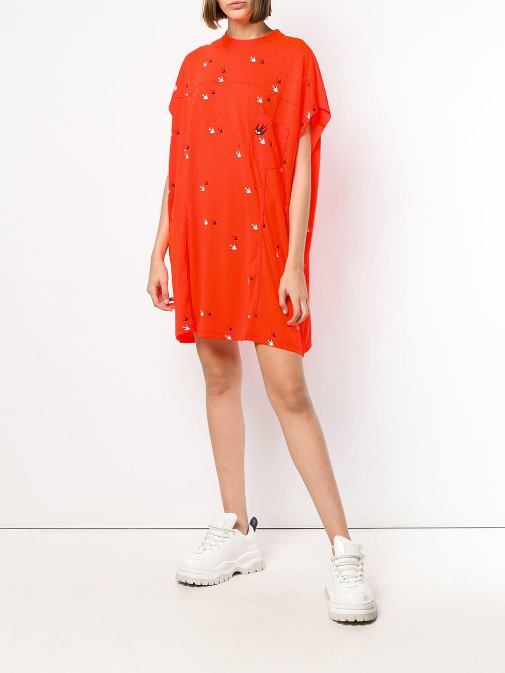 e75c8ad2b01df Lyst - Mcq Alexander Mcqueen Swallows Twins Shift Dress in Orange