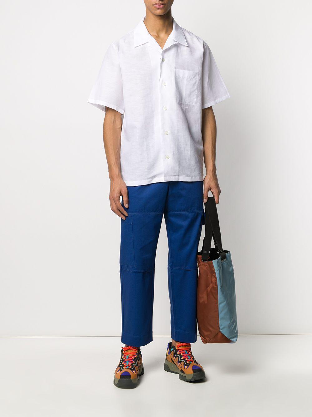 KENZO Linnen Overhemd Met Korte Mouwen in het Wit voor heren