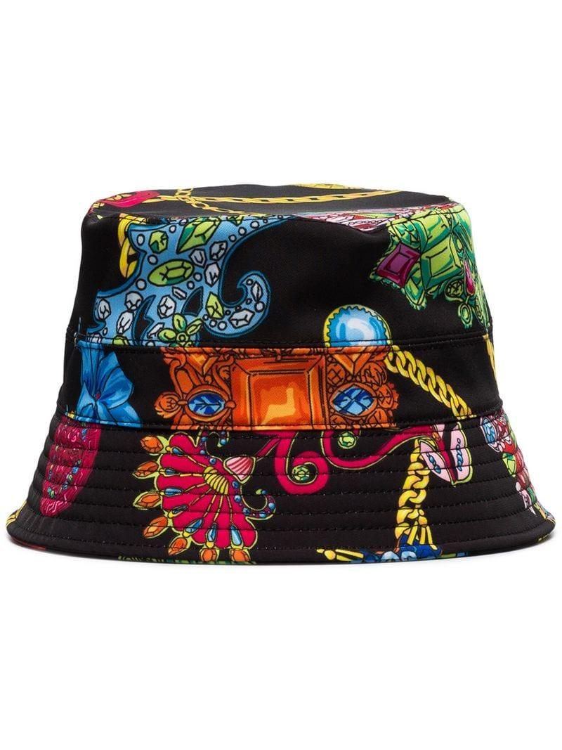 d893b6978a7 Lyst - Versace Black Jewel Print Bucket Hat in Black for Men