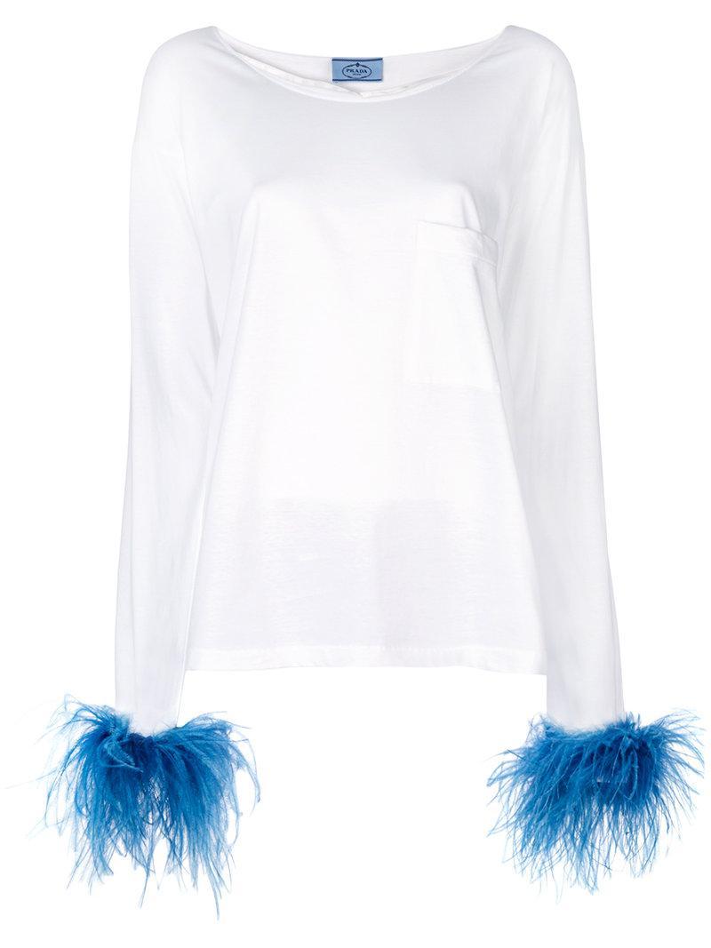 54c571e769ca0 Prada - White Feather Cuff Top - Lyst. View fullscreen